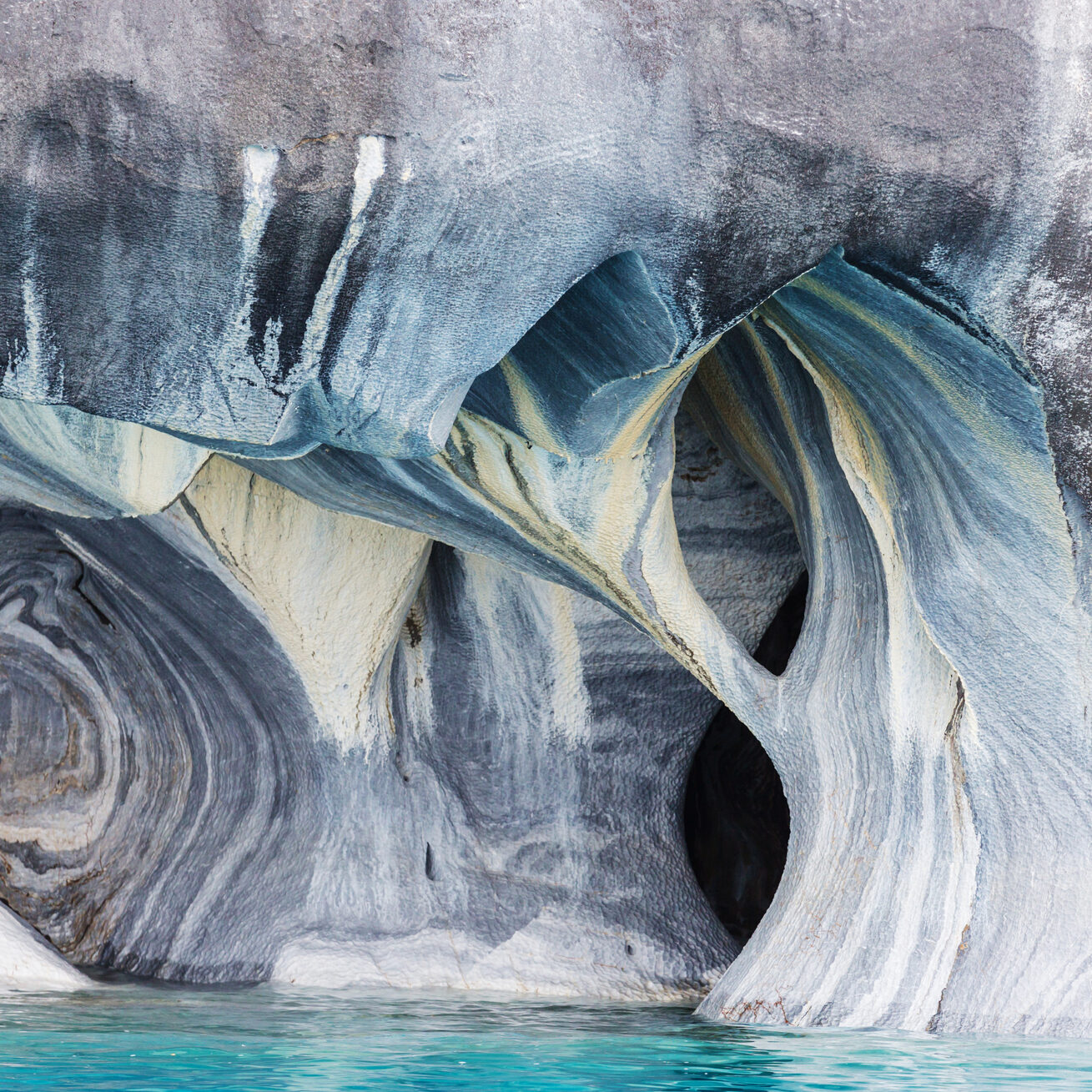 Unusual marble caves on the lake of General Carrera, Patagonia, Chile. Carretera Austral trip.
